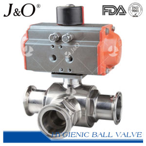 Sanitary Stainless Steel Pneumatic 3 Way Ball Valve pictures & photos