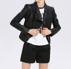 Cultivate One′s Morality Fake Leather Shorts Jacket Puj0702 pictures & photos