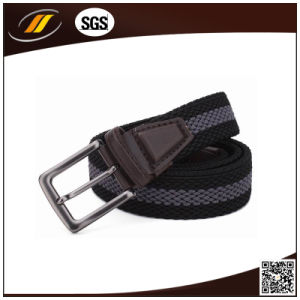 Genuine Leather Elastic Braided Man Belt with Alloy Buckle