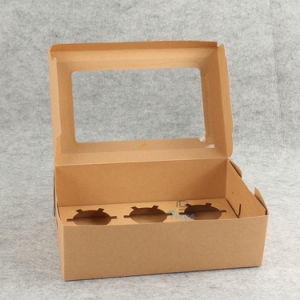 Eco Friendly Handle Paper White Window Cake Box pictures & photos