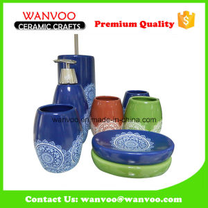 China Eco-Friendly 4 PCS Ceramic Bathroom Set of Hand Painting Finish pictures & photos