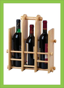 Customized Solid Wood Wine Beer Storage Shelf with Handle pictures & photos