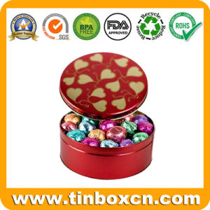 Round Metal Chocolate Can with PVC Window, Chocolate Tin Box pictures & photos
