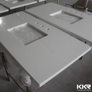 Custom Made Solid Surface Bathroom Countertop Vanity Top pictures & photos