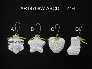 "4""H Sage Crochet Tree Ornametns-4asst, Christmas Decoration pictures & photos"