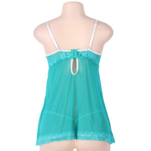 Wholesale Online Hot Selling Sleeveless Green Plus Size Sexy Lingerie for Fat Women pictures & photos