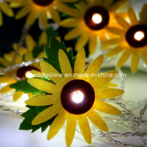 Battery Powered Sunflower Light up Flashing Christmas Fairy Rope Light pictures & photos