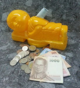 Piggy Bank Money Pot Plastic Coin Box Note Collectible Little Buddha Monk Sleep pictures & photos