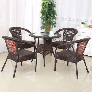 Foshan Outdoor Furniture Rattan Stacking Chair Glass Table Garden Sets (Z349) pictures & photos