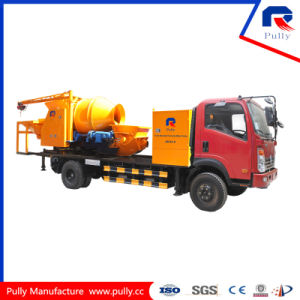 Truck Mounted Drum Style Concrete Mixing Pump with Batcher and Chassis pictures & photos