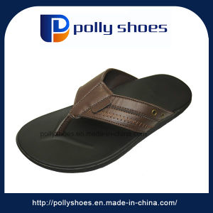PU Sole Summer New Design Thong Leather Flat Sandals pictures & photos