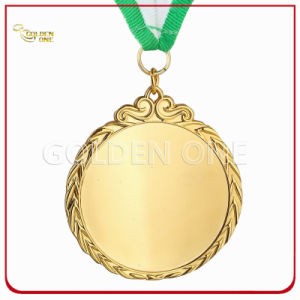 High Quality Gold Plated Metal Sport Medallion with Printed Lanyard pictures & photos