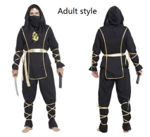 Cool Adults Ninja Costume with Print Logo for Hallowmas Party pictures & photos