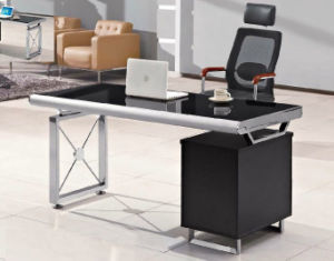 Powder Coating Steel Structure Glass Table Top Office Desk (HX-GL006) pictures & photos