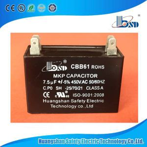 Cbb61 Fan Capacitor, Red & Whilte Color Case, Square Type, 370VAC pictures & photos