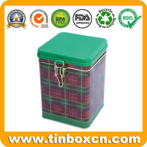 Square Metal Tea Tin with Embossing, Tea Caddy, Tin Box pictures & photos