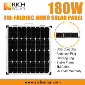 180W 12V Mono Photovoltaic Tri-Foldable Solar Panel for Home Use