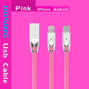 3FT Smart Cable USB Data Cable with LED Intelligent Light pictures & photos