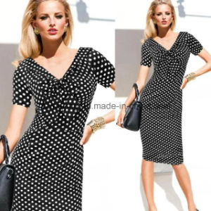 Two Color Women`S Polka Dots Dress pictures & photos