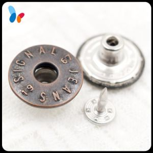 Custom Darker Metal Brass Hole Cap Jeans Button with Concave Logo pictures & photos
