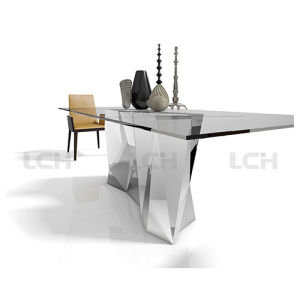 Fashion Modern Glass & Stone Dining Table pictures & photos