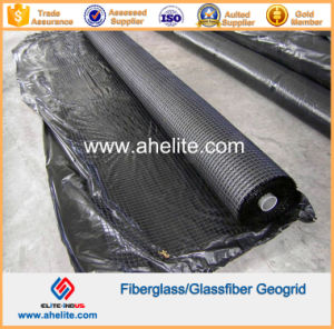 50kn/Mx50kn/M Glassfiber Geogrids Coated with Asphalt Bitumen pictures & photos