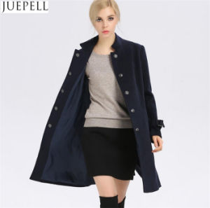 New Women′s Autumn and Winter Wool Coat Women Windbreaker and Long Sections Slim Woolen Collar Women Coat pictures & photos
