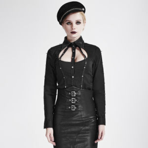 Y-691 Punk Black Autumn Cut-out Shirt Collar Leather Stripes Long Sleeve Women Shirts pictures & photos
