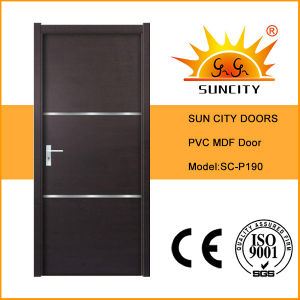 Cheapest China Factory Solid PVC Wooden Door (SC-P190) pictures & photos