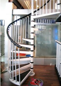 White Spiral Stairs Stainless Steel Staircase