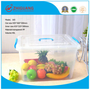 High Quality 40L Plastic Storage Box Clear Moveable Household Plastic Container with Wheels pictures & photos