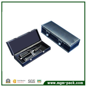High Quality Blue Wooden Pen Box with PU Leather pictures & photos