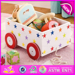 MDF Pull and Push Kids Wooden Toy Box, Wooden Storage Box with 4 Wheels, Pulled Cart Toy W08c128 pictures & photos