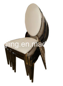 Luxury Design White Fabric Banquet Metal Dining Chair pictures & photos