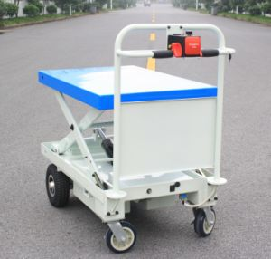 Powered Hand Lift Trolley with One Cylinder&Scissor and Big Wheels (HG-1090)