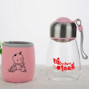 Penguin Shape Glass Water Bottle with Customized Print Logo pictures & photos