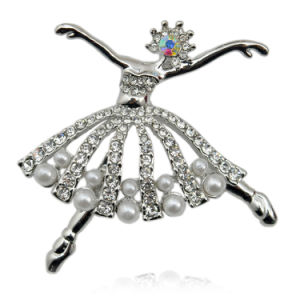 Fashion Small Ballet Dancer Silver Plated CZ Rhinestone Pearl Brooch pictures & photos