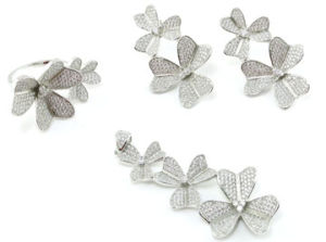 Flower Collections Wholesale Jewelry Woman′s Fashion AAA CZ 925 Silver Set (S3304) pictures & photos