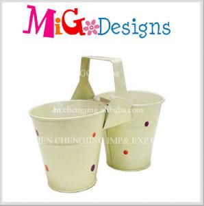 Excellent Colorful Metal Garden Planter Double Flower Pot pictures & photos
