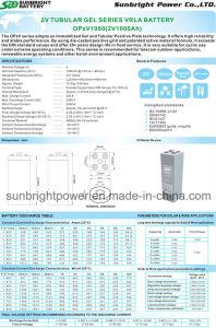 2V1000ah Solar Telecom Long Deep Cycle Gel Opzv Battery pictures & photos