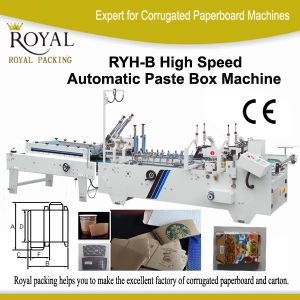 High Speed Automatic Paste Box Machine for Cafe Cup, Medicine Box, Wine Box, Cosmetics Box and Electric Equipment Package (RYH-B) pictures & photos