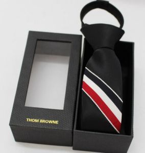 Black Leather Necktie Packaging Box with Window pictures & photos