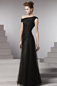 Elegant Black Tulle Ladies Prom/Party Evening Dress