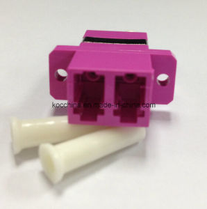 LC Om4 Violet Duplex with Flange Fiber Optical Adapter pictures & photos