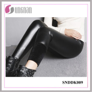 2015 Winter Warm Fashion Women PU Leather Thickening Fleece Leggings pictures & photos