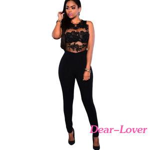 Fashion Black Mesh Lace Applique Jumpsuit pictures & photos