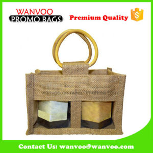 PVC Window Wine Bottle Jute Tote Bag with Wooden Handle pictures & photos