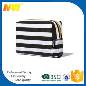 White Stripe Printing Nylon Make up Bag pictures & photos