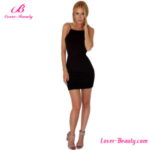Sweet Black Short Bodycon Sleeveless Backless Women Dress pictures & photos