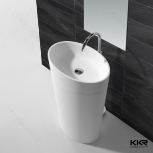 White Matte Stone Freestanding Wash Basin Pedestal Basin pictures & photos